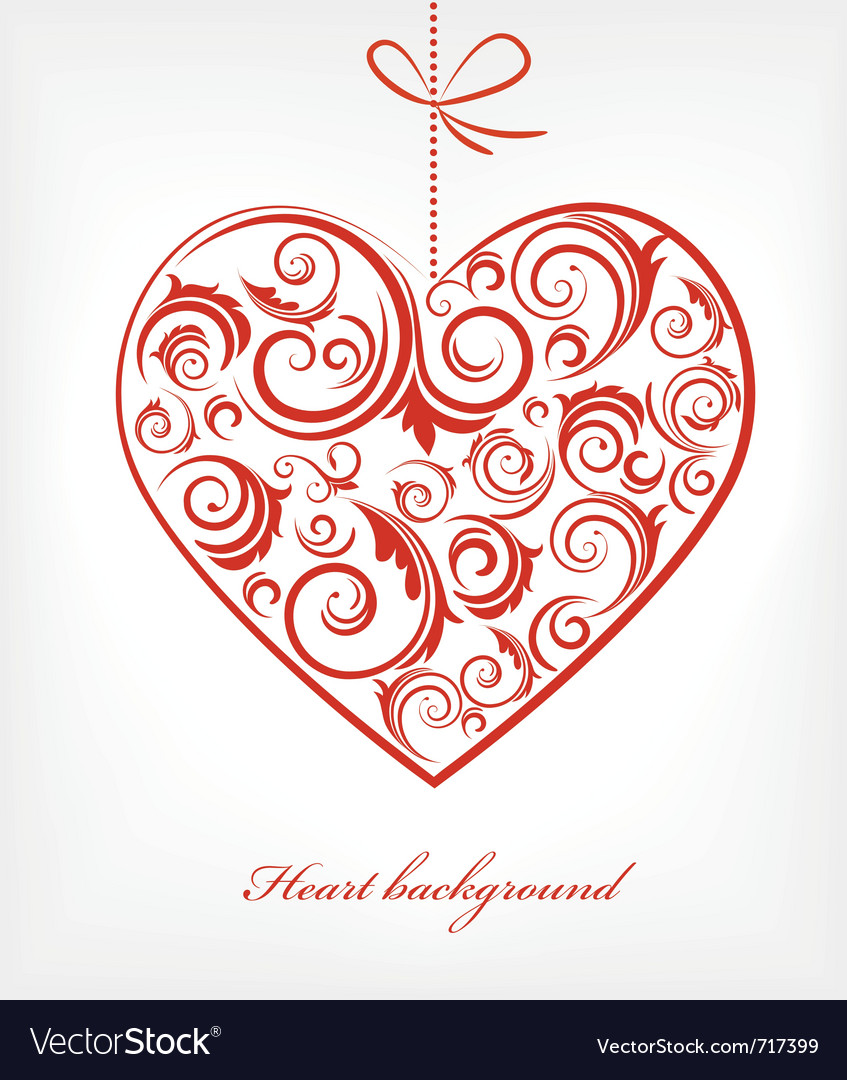 Retro red patterned heart vector | Price: 1 Credit (USD $1)