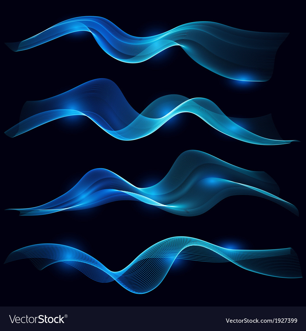Set of blue smoke wave in dark background vector | Price: 1 Credit (USD $1)