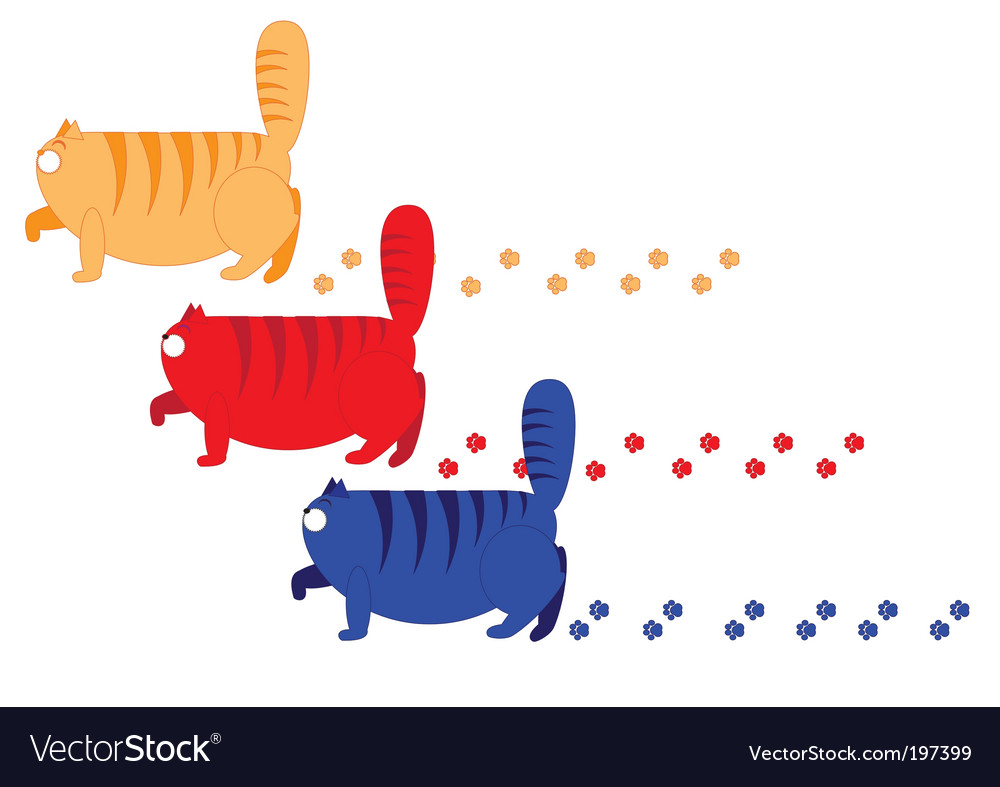 Three fat cats vector | Price: 1 Credit (USD $1)