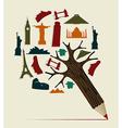World travel pencil vector