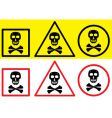 Danger label with skull symbol vector