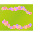 Lines of flowers on grass background vector
