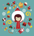 Winter holiday print with cute girl vector