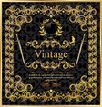 Vintage gold black frame decor label vector