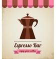 Espresso bar vinatge poster with makineta vector