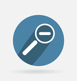 Circle blue icon with shadow magnifier reduction vector