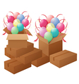 Boxes with balloons vector