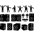 Speakers and people dancing vector