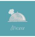 Silver platter cloche and chefs hat scribble effec vector