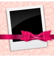 Valentines day photo card with bow and ribbon vector