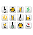 Beer colorful buttons set - bottle glass vector