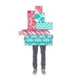 Tsvenye man holding gift boxes vector