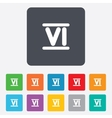 Roman numeral six icon roman number six sign vector