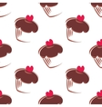 Tile pattern with cupcakes on white background vector