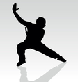 Fighter pose two silhouette vector