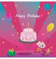 Happy birthday gifts cake ballons and stars vector