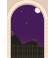 View from the balcony on a moonlit night vector
