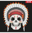 Human skull with indian chief hat and war paint vector
