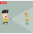 Businessman use flashlight find business concept vector