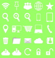 Internet icons on green background vector