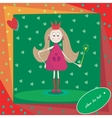 Little princess with magic wand and hearts vector
