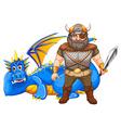 Viking and dragon vector