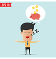 Business man daydream about money vector