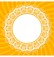 White lace doily on an orange background with rays vector