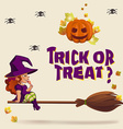 Halloween with witch on broom vector