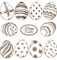 Set of sketch easter eggs icons vector