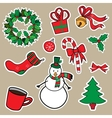 New year and christmas sticker icons vector