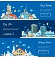 Flat urban winter landscape compositions vector