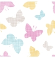 Textile textured colorful butterflies seamless vector