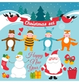 Set of colorful christmas characters and vector