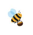 Bee and basket full of pollen or honey vector