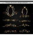 Golden decorative design elements vector