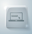 Glass square icon with highlights laptop vector