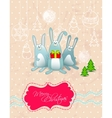 Merry christmas card with rabbits frame vector