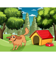A dog playing outside a dog house vector