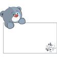 A stuffed toy bear cub with a empty blank cartoon vector