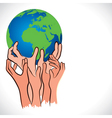 Save earth concept shown by hand vector