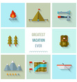 Camping icons flat design vector