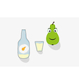 Pear short glass and bottle vector