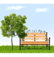 Bench with tree and grass vector