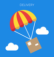 Delivery concept of a box and parachute in vector