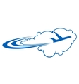 Airplane flying through clouds vector