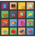 Market flat icons set vector