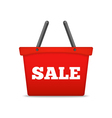 Shopping basket with sale word vector