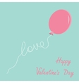 Pink oval balloon with love thread flat design vector