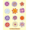 Set of colorful cute isolated flowers vector